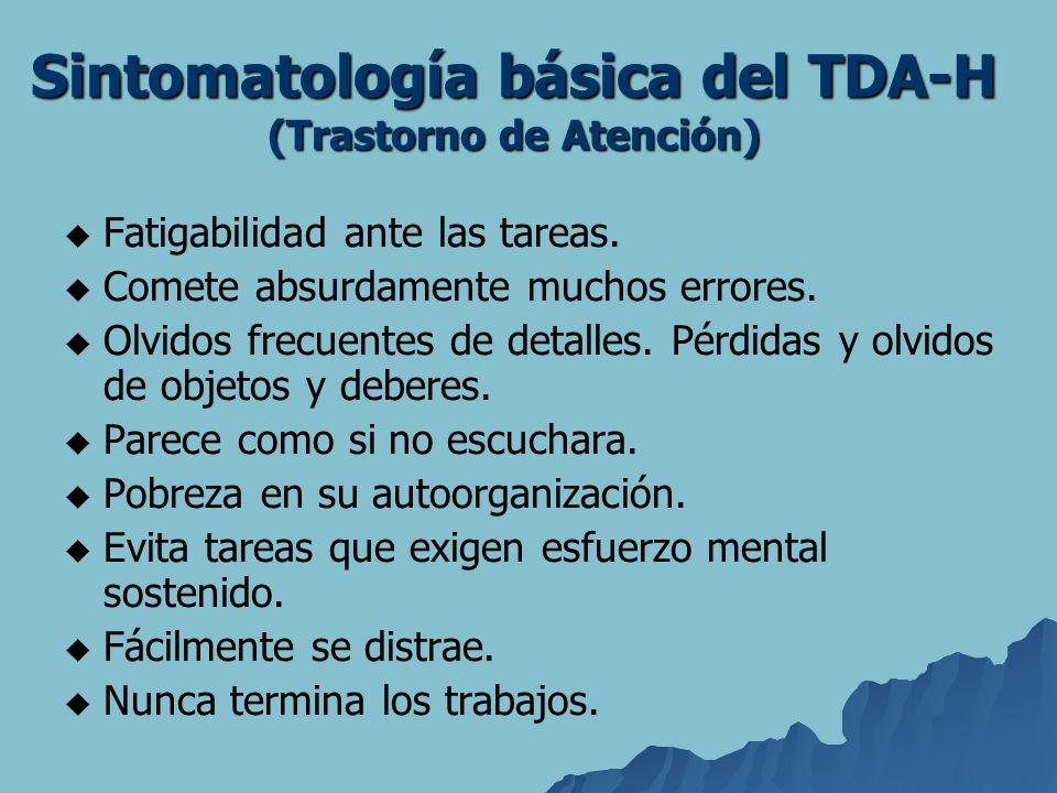 Sintomatología básica del TDA-H (Trastorno de Atención) Fatigabilidad ante las tareas. Comete absurdamente muchos errores. Olvidos frecuentes de detal