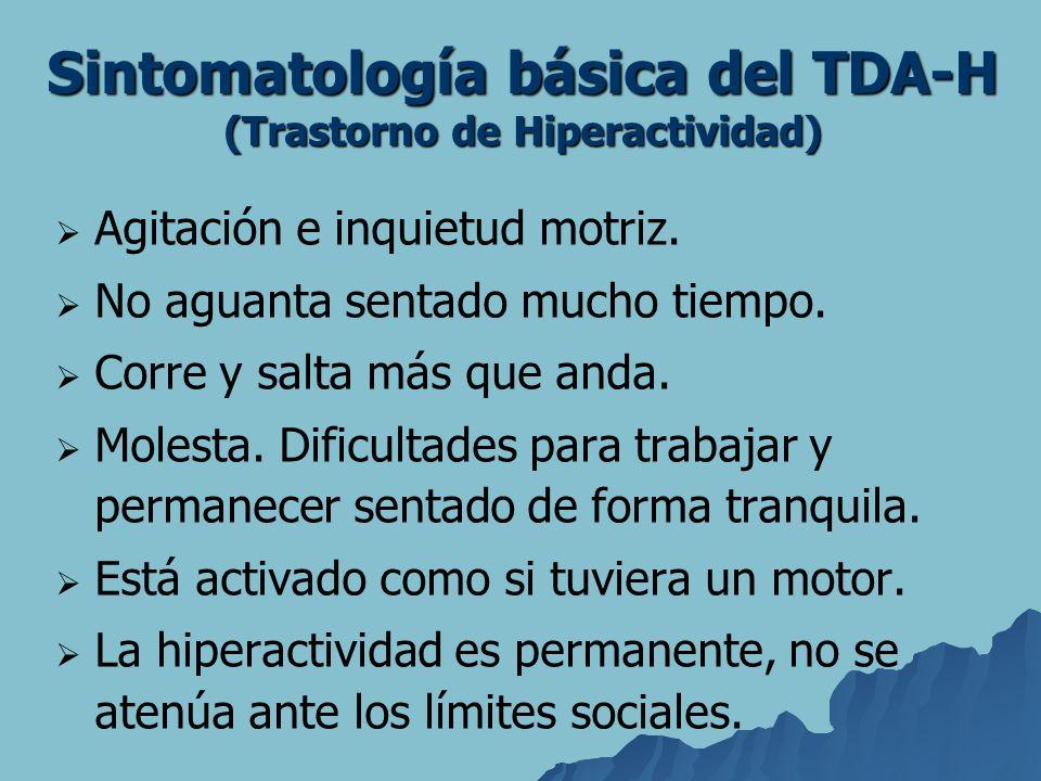 Sintomatología básica del TDA-H (Trastorno de Hiperactividad) Agitación e inquietud motriz. No aguanta sentado mucho tiempo. Corre y salta más que and