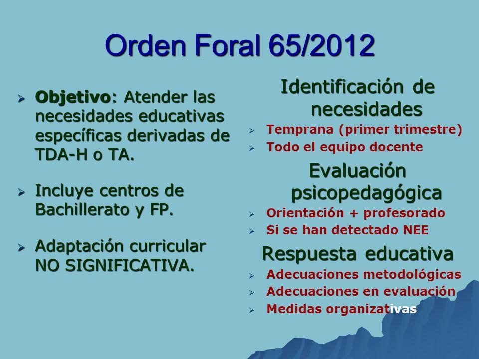 Orden Foral 65/2012 Objetivo: Atender las necesidades educativas específicas derivadas de TDA-H o TA. Objetivo: Atender las necesidades educativas esp