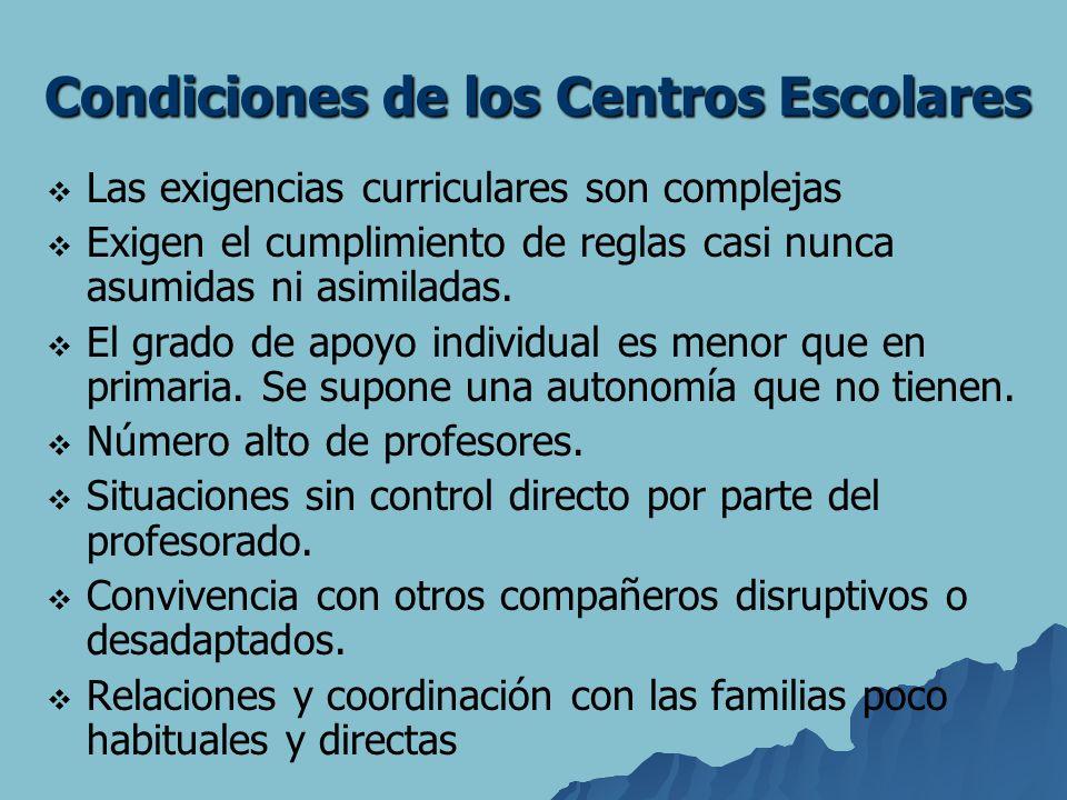 Condiciones de los Centros Escolares Las exigencias curriculares son complejas Exigen el cumplimiento de reglas casi nunca asumidas ni asimiladas. El