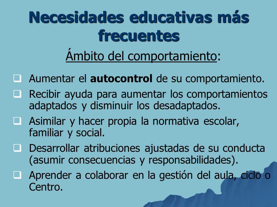 Necesidades educativas más frecuentes Ámbito del comportamiento: Aumentar el autocontrol de su comportamiento. Recibir ayuda para aumentar los comport