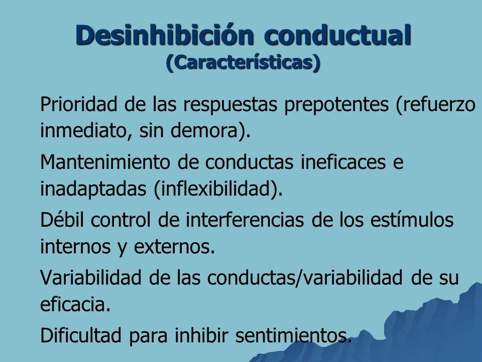 Prioridad de las respuestas prepotentes (refuerzo inmediato, sin demora). Mantenimiento de conductas ineficaces e inadaptadas (inflexibilidad). Débil