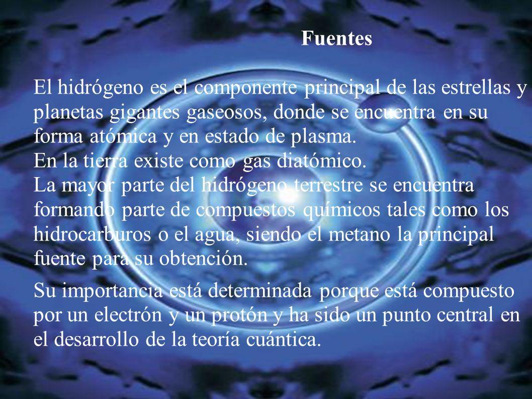 Fuentes El hidrógeno es el componente principal de las estrellas y planetas gigantes gaseosos, donde se encuentra en su forma atómica y en estado de p