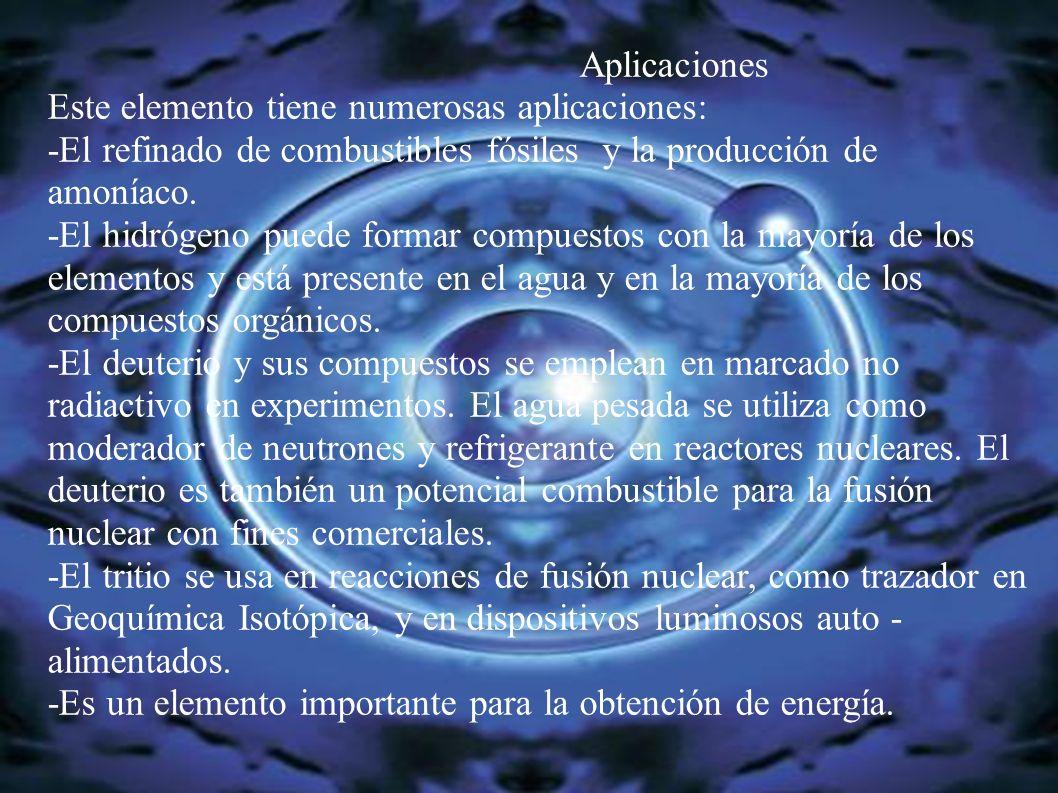 Aplicaciones Este elemento tiene numerosas aplicaciones: -El refinado de combustibles fósiles y la producción de amoníaco. -El hidrógeno puede formar