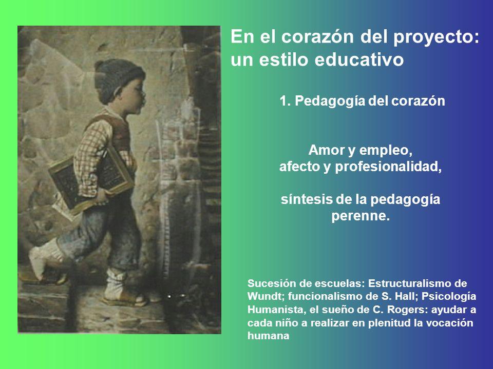 1. Pedagogía del corazón Amor y empleo, afecto y profesionalidad, síntesis de la pedagogía perenne. Sucesión de escuelas: Estructuralismo de Wundt; fu