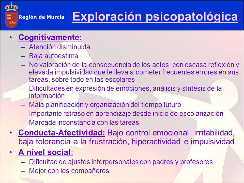 Exploración psicopatológica Cognitivamente: –A–Atención disminuida –B–Baja autoestima –N–No valoración de la consecuencia de los actos, con escasa ref