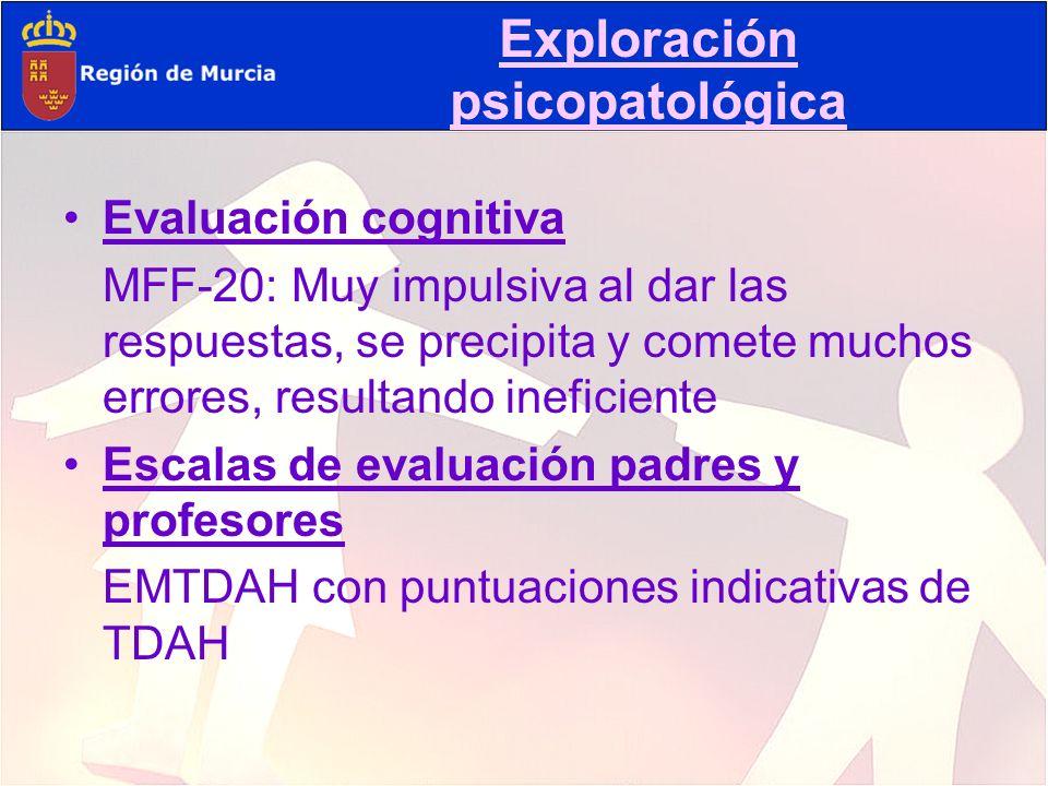 Evaluación cognitiva MFF-20: Muy impulsiva al dar las respuestas, se precipita y comete muchos errores, resultando ineficiente Escalas de evaluación p
