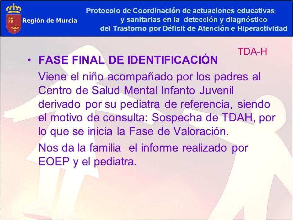 Protocolo de Coordinación de actuaciones educativas y sanitarias en la detección y diagnóstico del Trastorno por Déficit de Atención e Hiperactividad