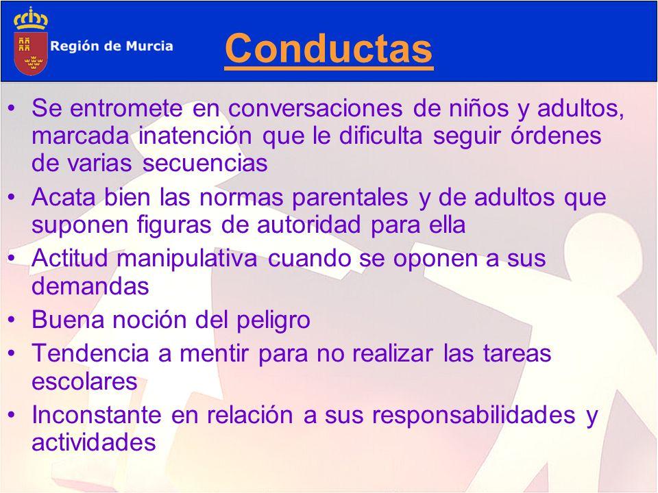 Conductas Se entromete en conversaciones de niños y adultos, marcada inatención que le dificulta seguir órdenes de varias secuencias Acata bien las no