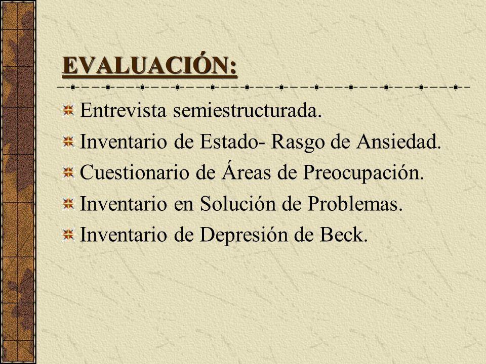 EVALUACIÓN: Entrevista semiestructurada. Inventario de Estado- Rasgo de Ansiedad. Cuestionario de Áreas de Preocupación. Inventario en Solución de Pro