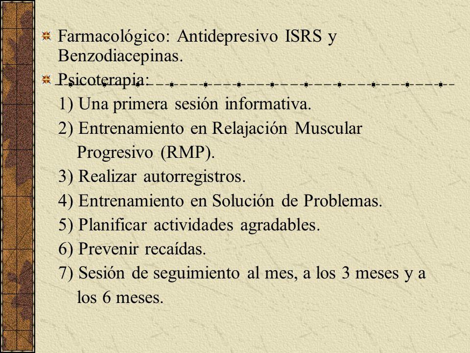 Farmacológico: Antidepresivo ISRS y Benzodiacepinas. Psicoterapia: 1) Una primera sesión informativa. 2) Entrenamiento en Relajación Muscular Progresi
