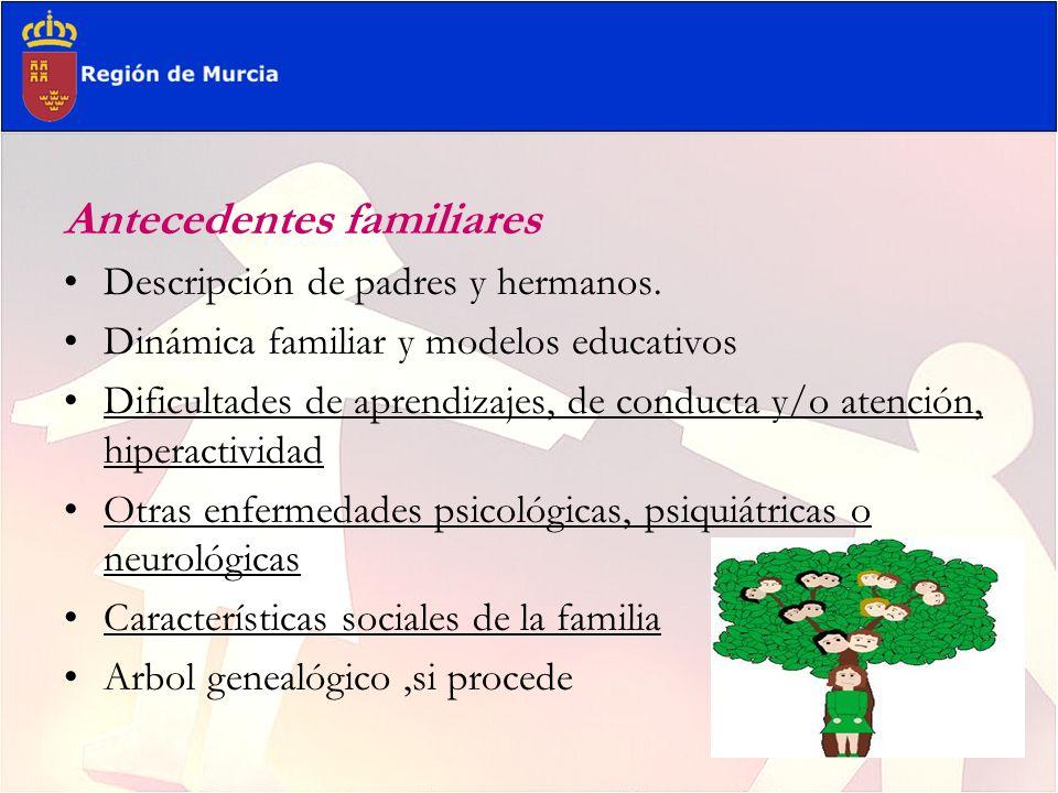 Antecedentes familiares Descripción de padres y hermanos. Dinámica familiar y modelos educativos Dificultades de aprendizajes, de conducta y/o atenció
