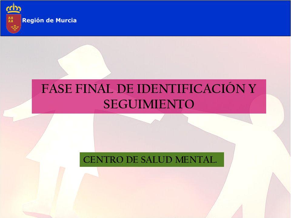 FASE FINAL DE IDENTIFICACIÓN Y SEGUIMIENTO CENTRO DE SALUD MENTAL.