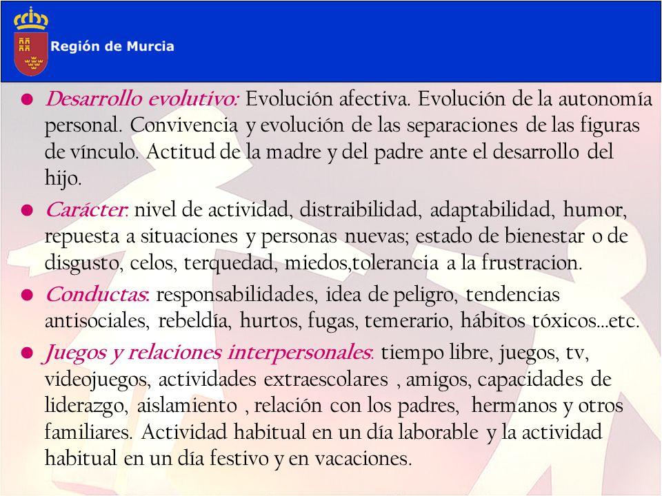 Desarrollo evolutivo: Evolución afectiva. Evolución de la autonomía personal. Convivencia y evolución de las separaciones de las figuras de vínculo. A