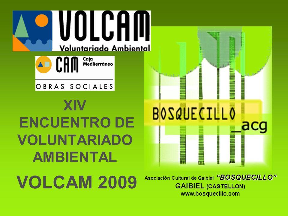 XIV ENCUENTRO DE VOLUNTARIADO AMBIENTAL VOLCAM 2009 BOSQUECILLO Asociación Cultural de Gaibiel BOSQUECILLO GAIBIEL (CASTELLON) www.bosquecillo.com