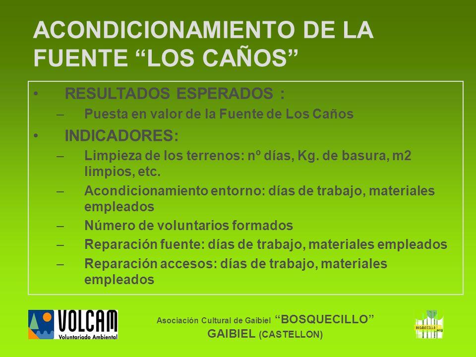 Asociación Cultural de Gaibiel BOSQUECILLO GAIBIEL (CASTELLON) ACONDICIONAMIENTO DE LA FUENTE LOS CAÑOS RESULTADOS ESPERADOS : –Puesta en valor de la