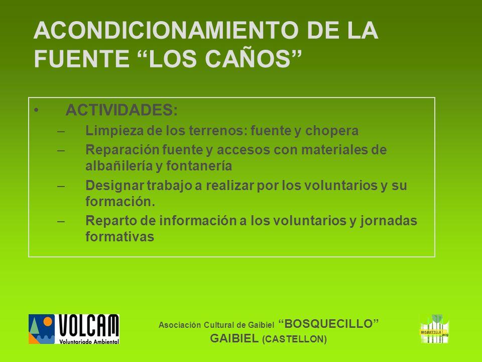 Asociación Cultural de Gaibiel BOSQUECILLO GAIBIEL (CASTELLON) ACONDICIONAMIENTO DE LA FUENTE LOS CAÑOS ACTIVIDADES: –Limpieza de los terrenos: fuente