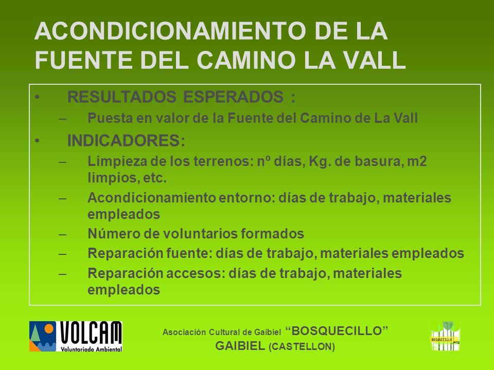 Asociación Cultural de Gaibiel BOSQUECILLO GAIBIEL (CASTELLON) ACONDICIONAMIENTO DE LA FUENTE DEL CAMINO LA VALL RESULTADOS ESPERADOS : –Puesta en val