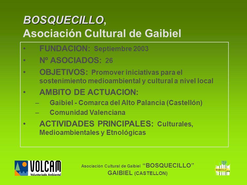Asociación Cultural de Gaibiel BOSQUECILLO GAIBIEL (CASTELLON) BOSQUECILLO BOSQUECILLO, Asociación Cultural de Gaibiel FUNDACION: Septiembre 2003 Nº A
