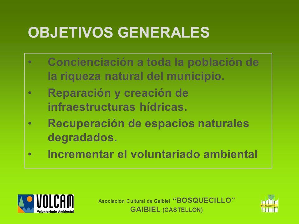 Asociación Cultural de Gaibiel BOSQUECILLO GAIBIEL (CASTELLON) OBJETIVOS GENERALES Concienciación a toda la población de la riqueza natural del munici