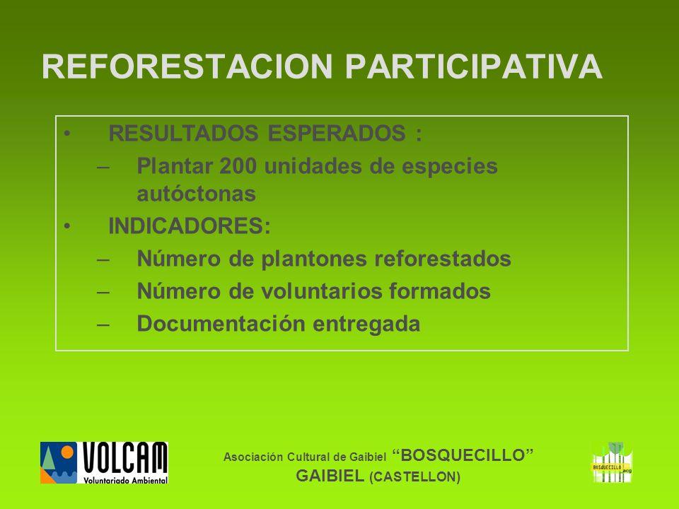Asociación Cultural de Gaibiel BOSQUECILLO GAIBIEL (CASTELLON) RESULTADOS ESPERADOS : –Plantar 200 unidades de especies autóctonas INDICADORES: –Númer