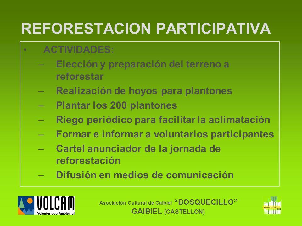 Asociación Cultural de Gaibiel BOSQUECILLO GAIBIEL (CASTELLON) REFORESTACION PARTICIPATIVA ACTIVIDADES: –Elección y preparación del terreno a reforest