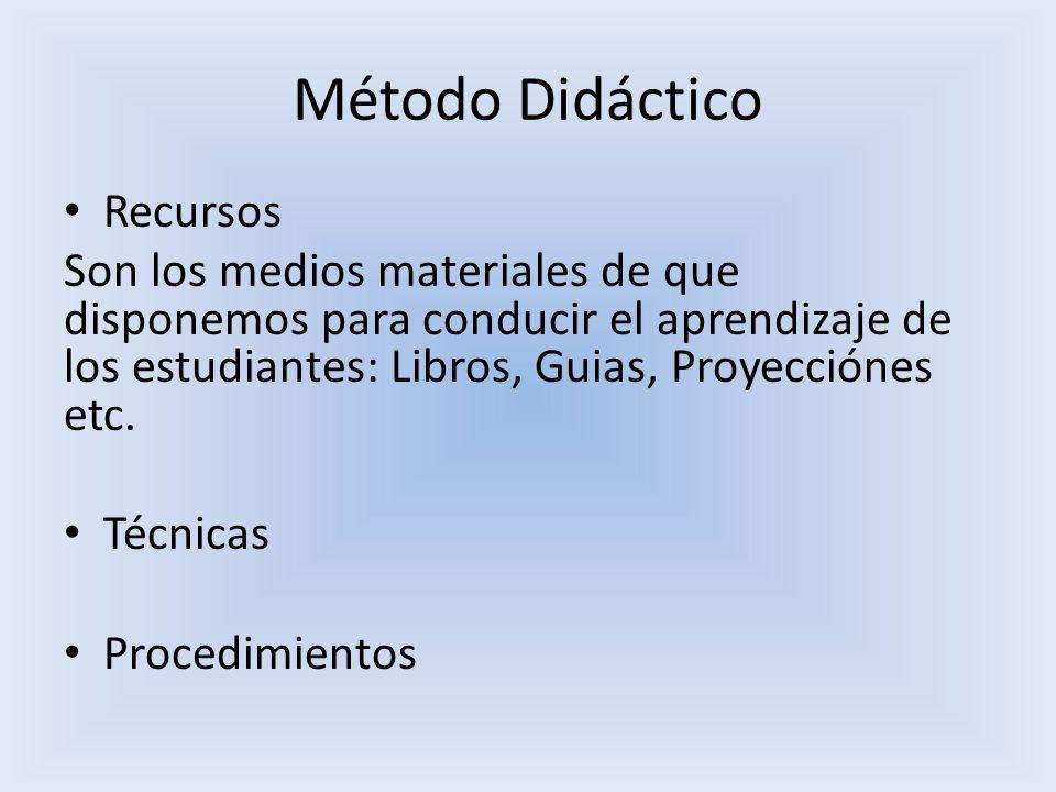 Método Didáctico Recursos Son los medios materiales de que disponemos para conducir el aprendizaje de los estudiantes: Libros, Guias, Proyecciónes etc