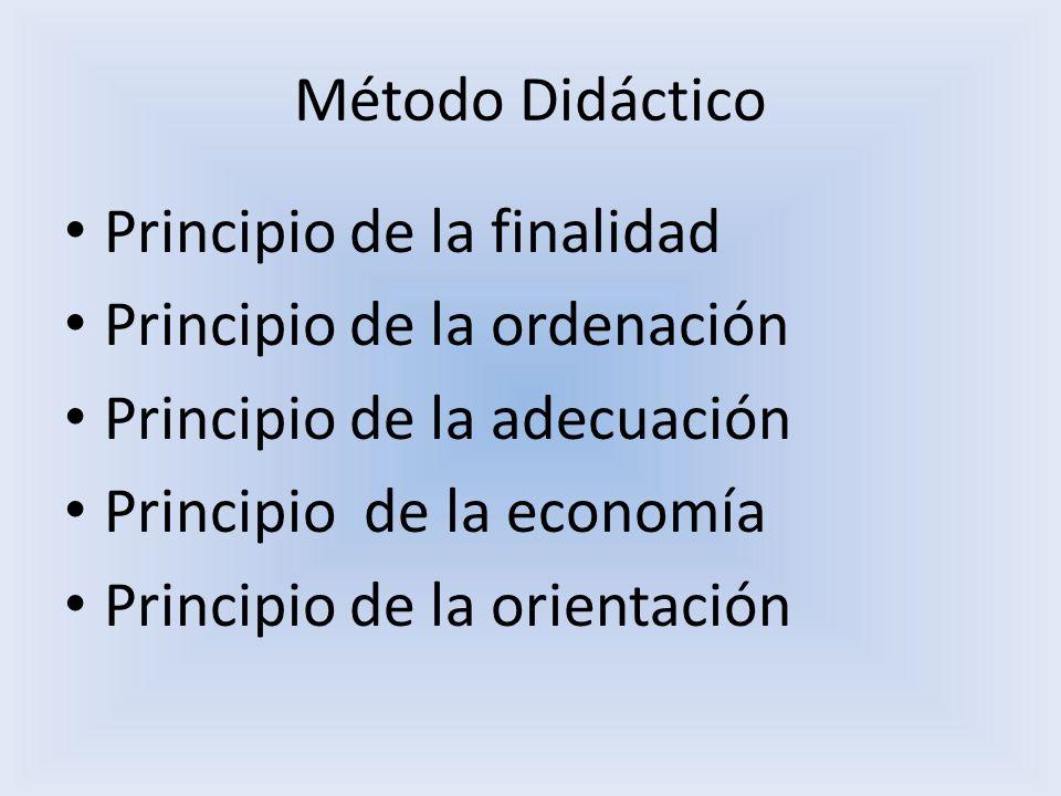 Método Didáctico Principio de la finalidad Principio de la ordenación Principio de la adecuación Principio de la economía Principio de la orientación