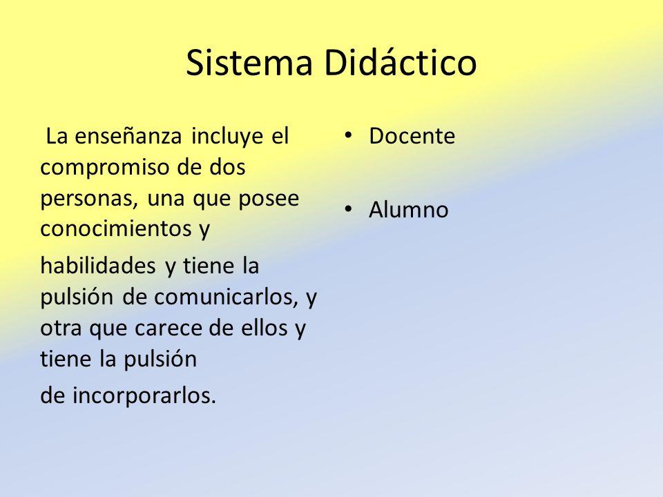 Sistema Didáctico La enseñanza incluye el compromiso de dos personas, una que posee conocimientos y habilidades y tiene la pulsión de comunicarlos, y