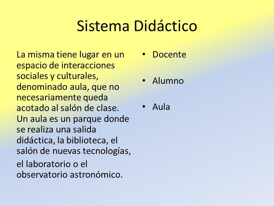 Sistema Didáctico La misma tiene lugar en un espacio de interacciones sociales y culturales, denominado aula, que no necesariamente queda acotado al s