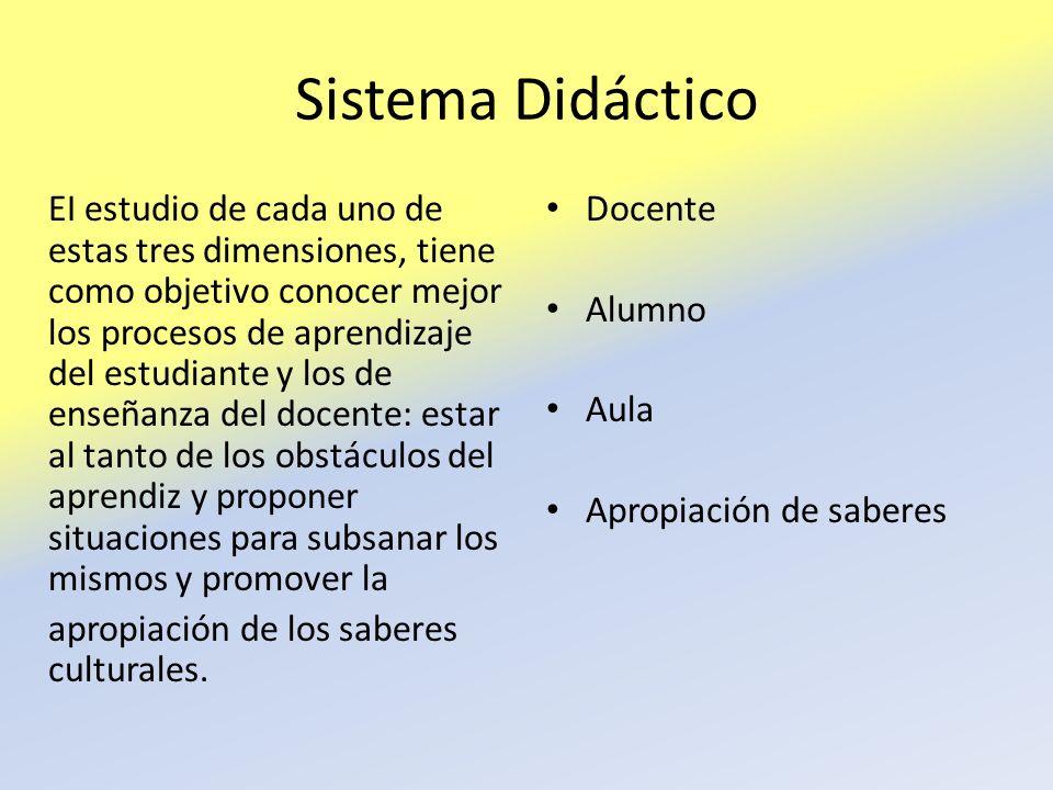 Sistema Didáctico EI estudio de cada uno de estas tres dimensiones, tiene como objetivo conocer mejor los procesos de aprendizaje del estudiante y los