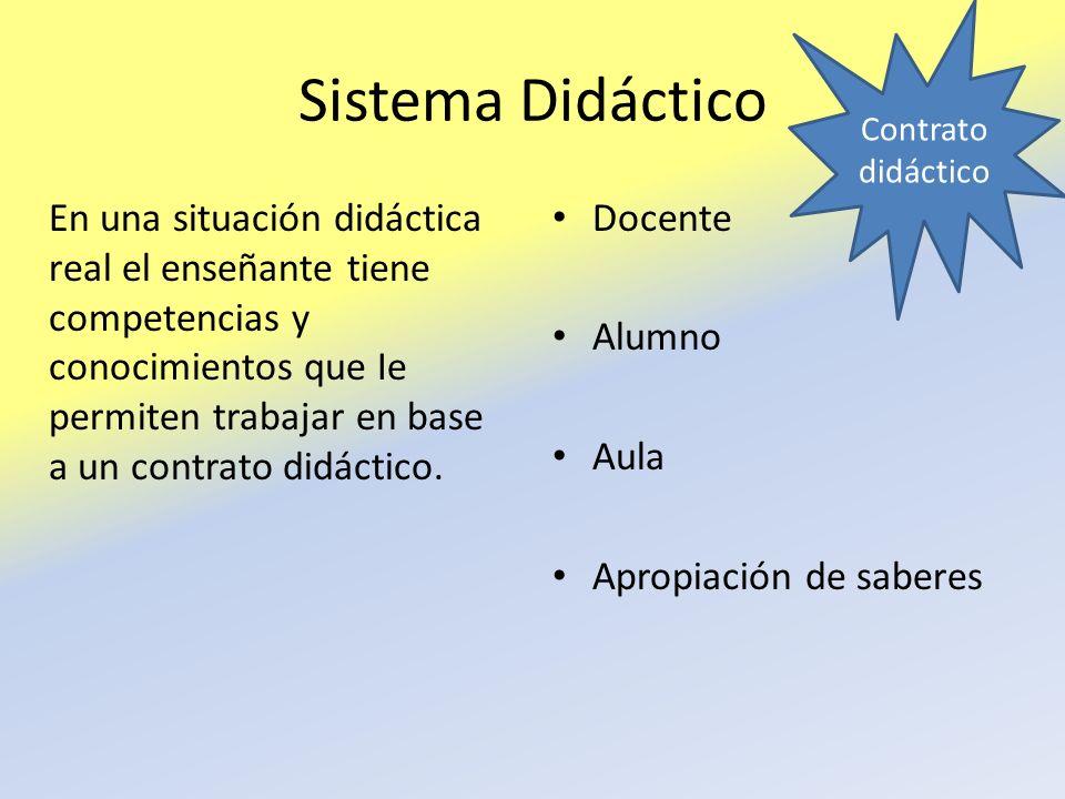 Sistema Didáctico En una situación didáctica real el enseñante tiene competencias y conocimientos que Ie permiten trabajar en base a un contrato didác