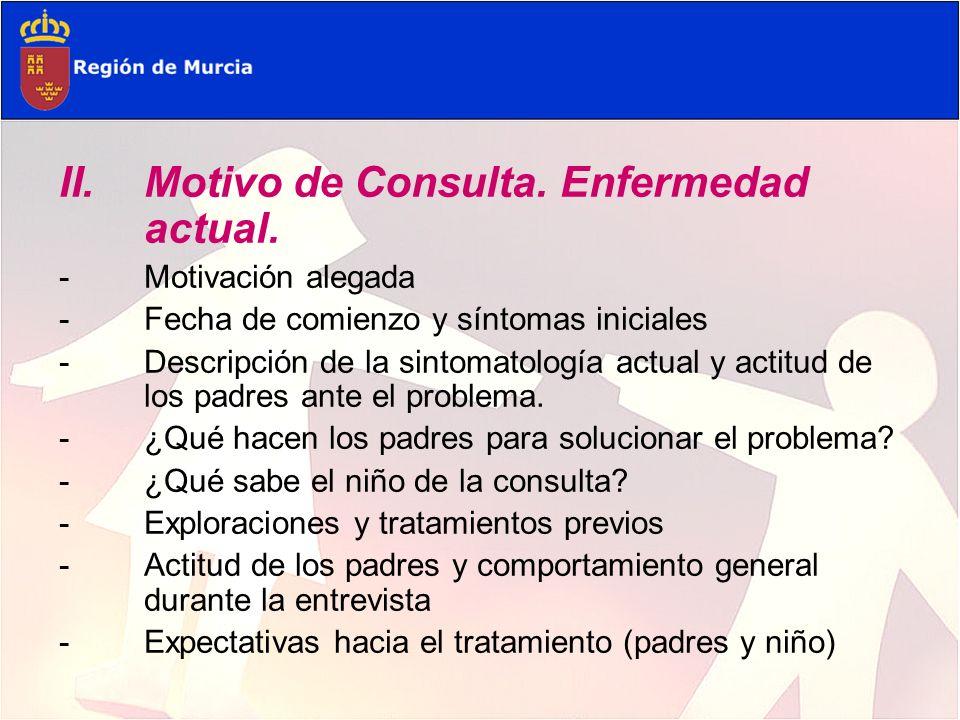 III.Enfermedad Data, síntomas iniciales (circunstancias biográficas) Aparición cronológica de los síntomas.