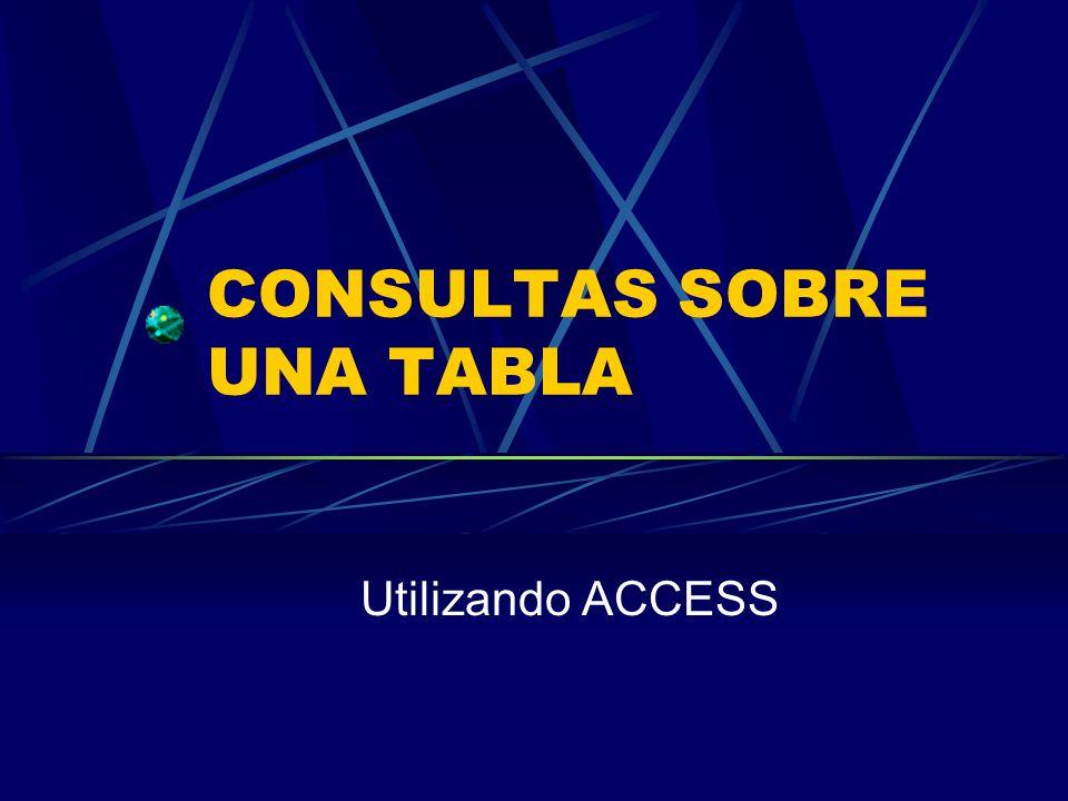 CONSULTAS SOBRE UNA TABLA Utilizando ACCESS