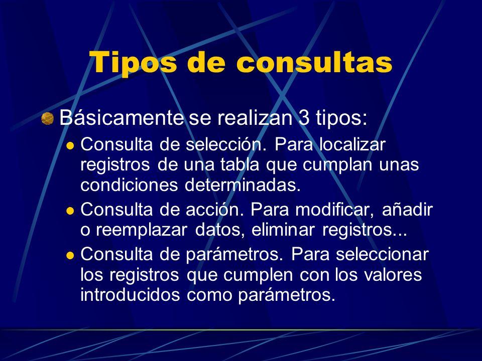 Tipos de consultas Básicamente se realizan 3 tipos: Consulta de selección. Para localizar registros de una tabla que cumplan unas condiciones determin