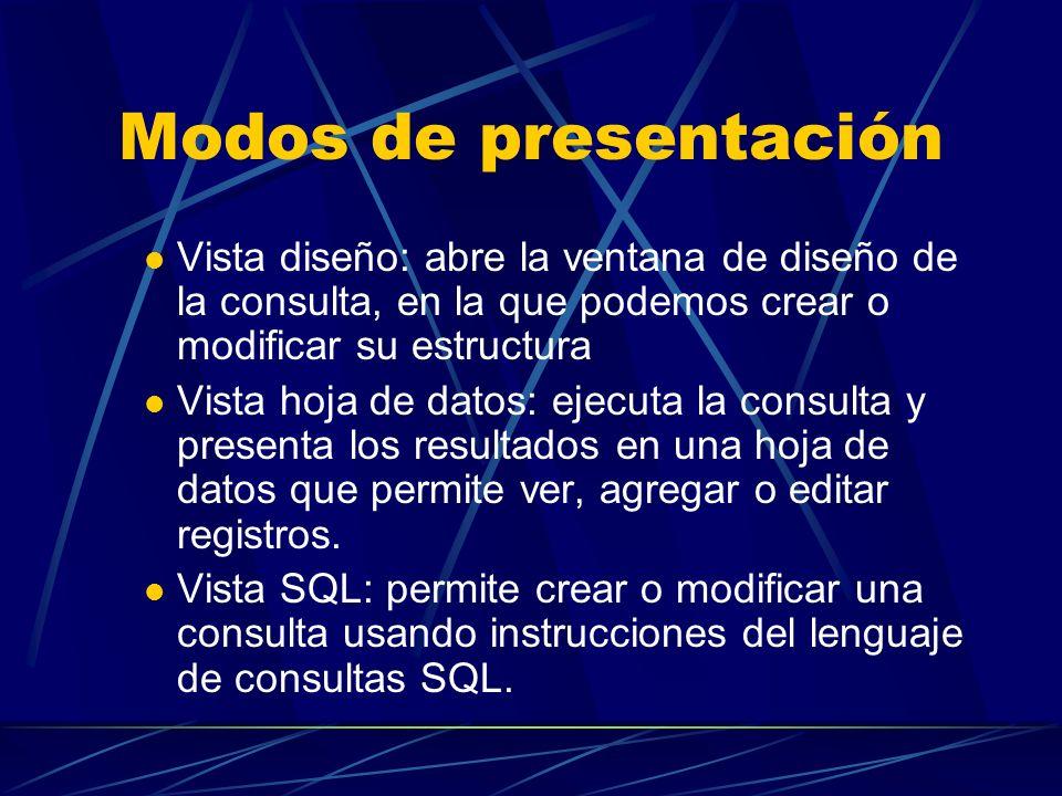 Modos de presentación Vista diseño: abre la ventana de diseño de la consulta, en la que podemos crear o modificar su estructura Vista hoja de datos: e