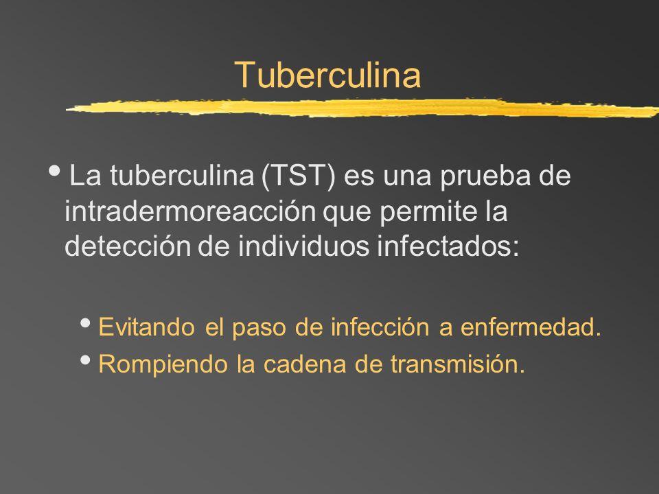 Tuberculina La tuberculina (TST) es una prueba de intradermoreacción que permite la detección de individuos infectados: Evitando el paso de infección