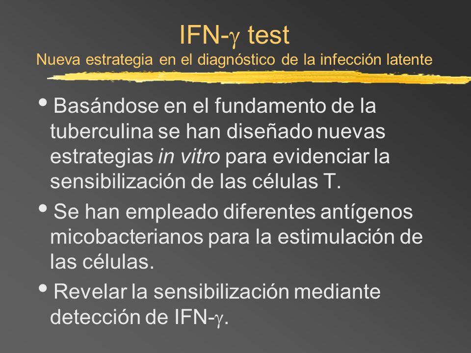 IFN- test Nueva estrategia en el diagnóstico de la infección latente Basándose en el fundamento de la tuberculina se han diseñado nuevas estrategias i