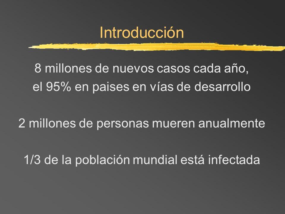 Introducción 8 millones de nuevos casos cada año, el 95% en paises en vías de desarrollo 2 millones de personas mueren anualmente 1/3 de la población