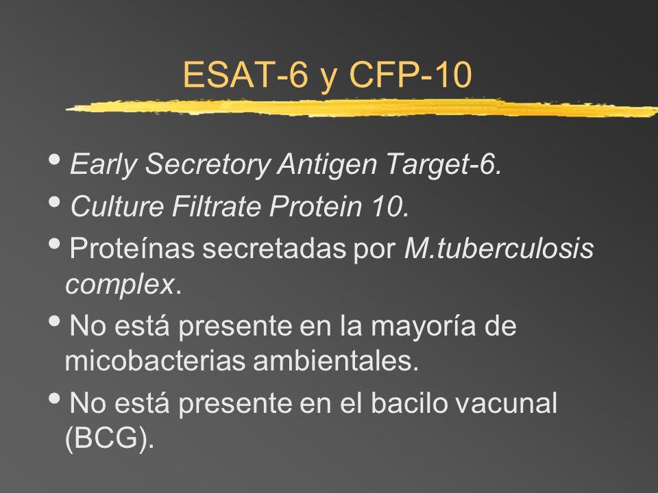 ESAT-6 y CFP-10 Early Secretory Antigen Target-6. Culture Filtrate Protein 10. Proteínas secretadas por M.tuberculosis complex. No está presente en la
