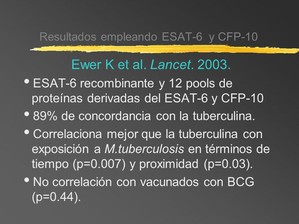 Resultados empleando ESAT-6 y CFP-10 Ewer K et al. Lancet. 2003. ESAT-6 recombinante y 12 pools de proteínas derivadas del ESAT-6 y CFP-10 89% de conc
