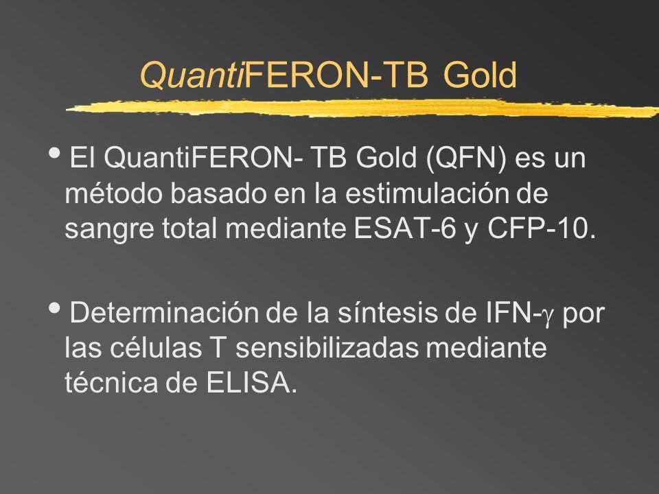 QuantiFERON-TB Gold El QuantiFERON- TB Gold (QFN) es un método basado en la estimulación de sangre total mediante ESAT-6 y CFP-10. Determinación de la