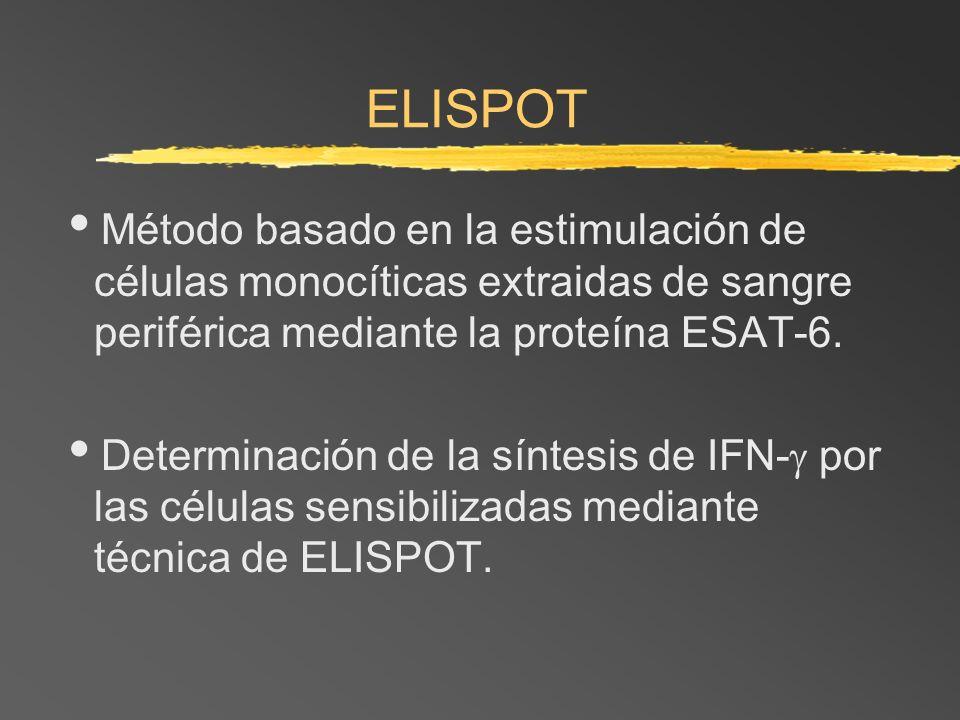 ELISPOT Método basado en la estimulación de células monocíticas extraidas de sangre periférica mediante la proteína ESAT-6. Determinación de la síntes