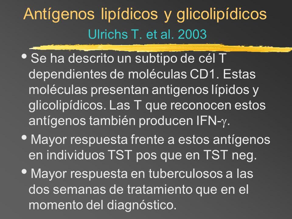 Antígenos lipídicos y glicolipídicos Ulrichs T. et al. 2003 Se ha descrito un subtipo de cél T dependientes de moléculas CD1. Estas moléculas presenta