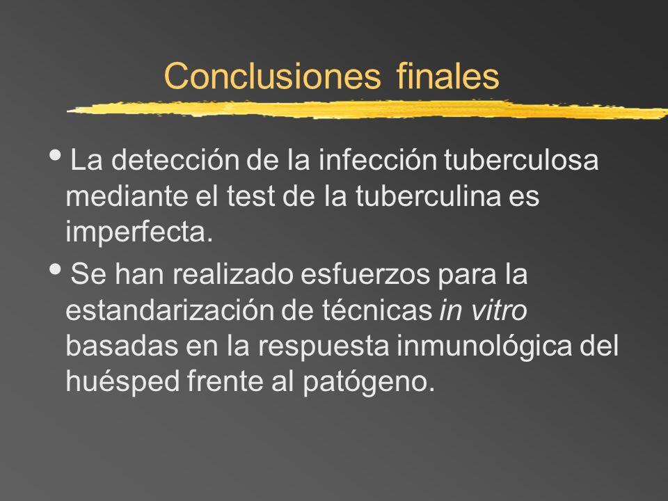 Conclusiones finales La detección de la infección tuberculosa mediante el test de la tuberculina es imperfecta. Se han realizado esfuerzos para la est
