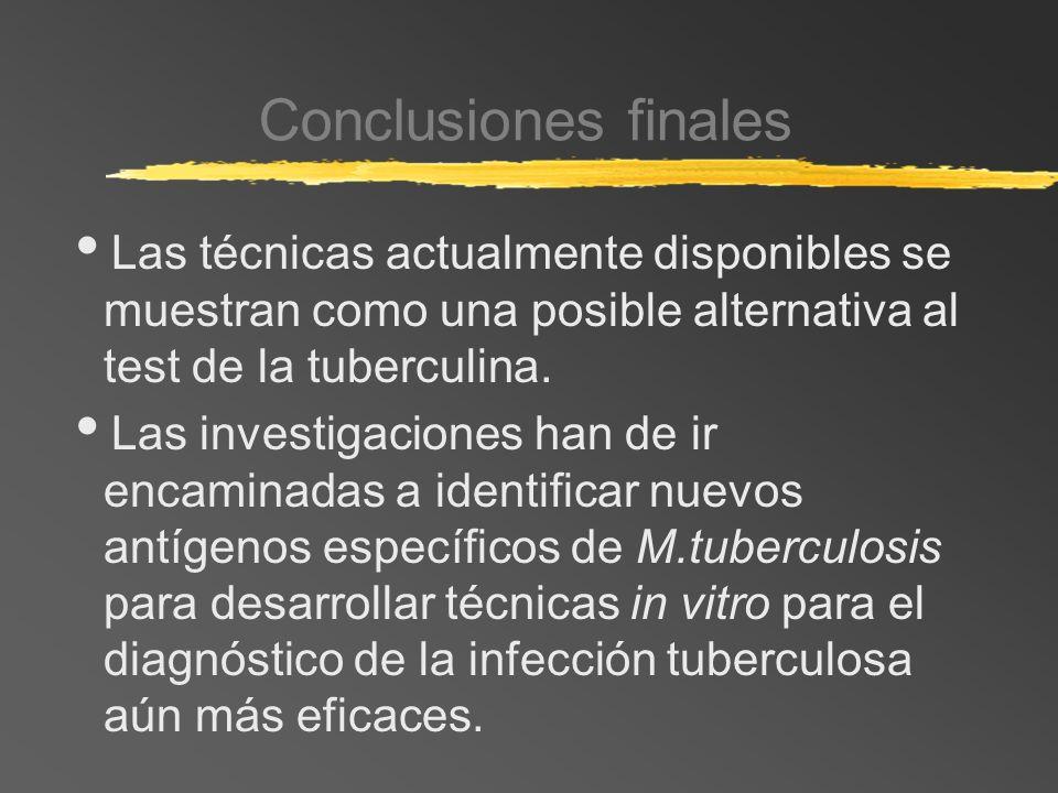 Conclusiones finales Las técnicas actualmente disponibles se muestran como una posible alternativa al test de la tuberculina. Las investigaciones han