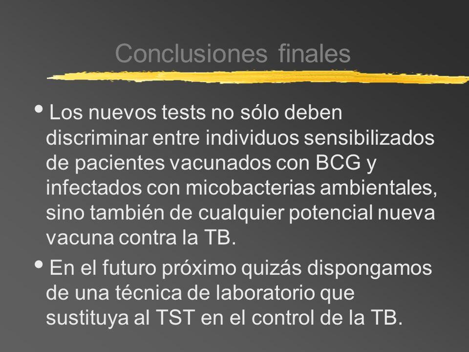 Conclusiones finales Los nuevos tests no sólo deben discriminar entre individuos sensibilizados de pacientes vacunados con BCG y infectados con micoba