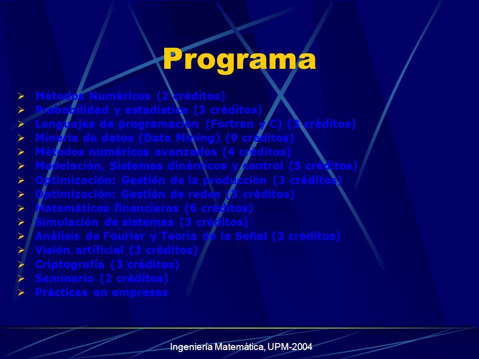 Ingeniería Matemática, UPM-2004 Programa Métodos Numéricos (2 créditos) Probabilidad y estadística (3 créditos) Lenguajes de programación (Fortran y C) (3 créditos) Minería de datos (Data Mining) (9 créditos) Métodos numéricos avanzados (4 créditos) Modelación, Sistemas dinámicos y control (5 créditos) Optimización: Gestión de la producción (3 créditos) Optimización: Gestión de redes (3 créditos) Matemáticas financieras (6 créditos) Simulación de sistemas (3 créditos) Análisis de Fourier y Teoría de la Señal (3 créditos) Visión artificial (3 créditos) Criptografía (3 créditos) Seminario (2 créditos) Prácticas en empresas