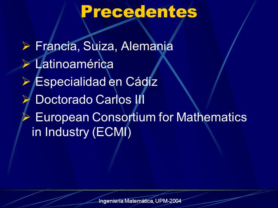 Ingeniería Matemática, UPM-2004 Precedentes Francia, Suiza, Alemania Latinoamérica Especialidad en Cádiz Doctorado Carlos III European Consortium for Mathematics in Industry (ECMI)