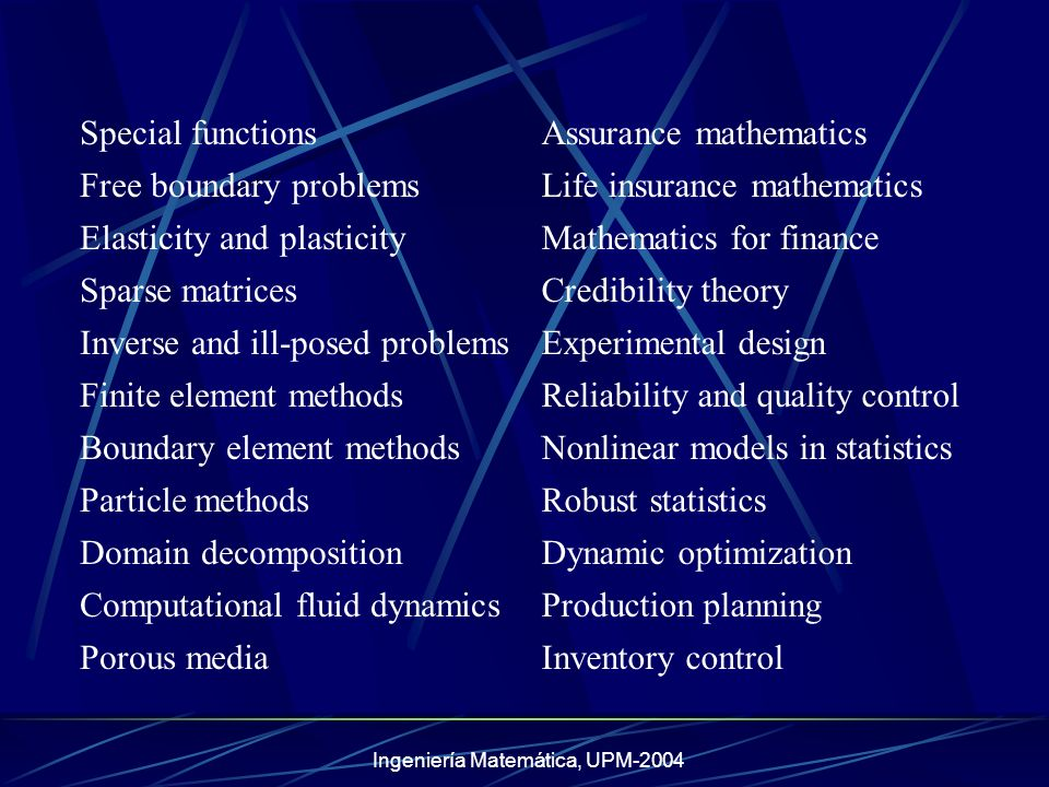Ingeniería Matemática, UPM-2004 Computational elasticityLocation theory Mathematical biologyDecision support systems Advanced non-linear analysisSimulated annealing Advanced systems theoryScheduling and routing Stochastic methods in controlGame theory IdentificationPattern recognition Computational geometryInformation theory Signal analysisCoding theory Image processingCryptography